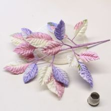 Spray of Lavender and Pink Velvet Leaves  Milliner's Hat Trim
